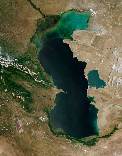 Каспийское море, вид из космоса