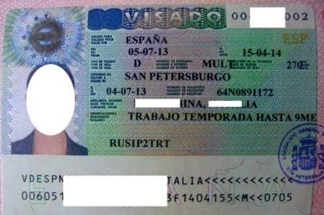 Пример визы в Испанию