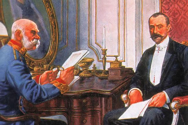 Франц Иосиф I и премьер-министр Венгрии Иштван Тиса (1905)