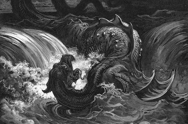 Убийство Левиафана. Гравюра. Гюстава Доре, 1865 г