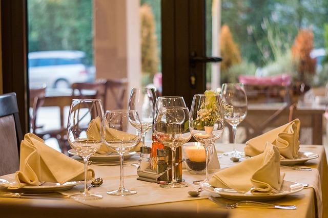 ресторан, стол, бокалы, сервировка, ужин