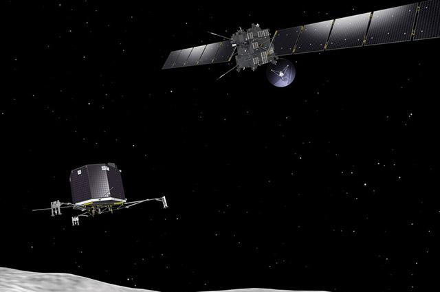 Космический зонд Розетта и спускаемый аппарат Филы
