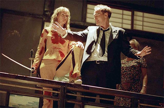 Ума Турман и Квентин Тарантино на съемках фильма «Убить Билла», 2003 год