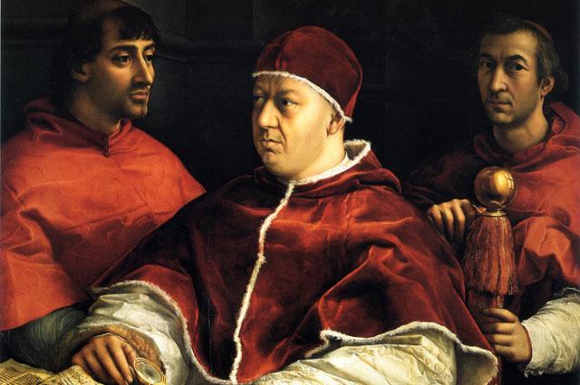 «Портрет Льва X с кардиналами Джулио Медичи и Луиджи Росси» кисти Рафаэля. 1518 г.