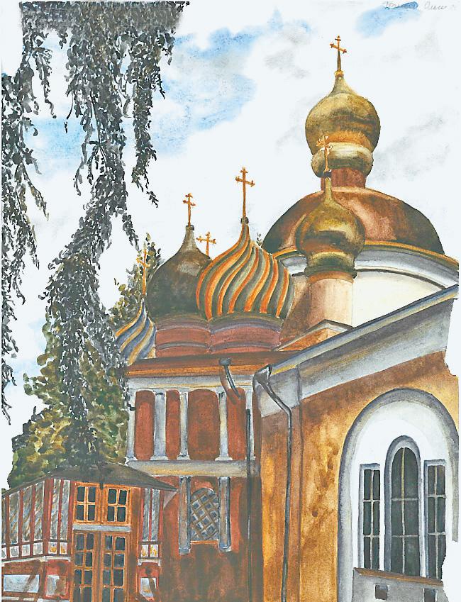 С этим изображением храма Спаса Преображения в Ново-Переделкине Оля выиграла конкурс.