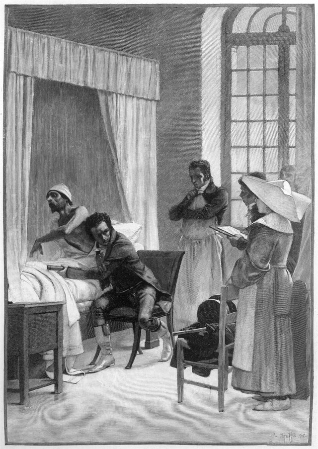 Лаэннек состетоскопом осматривает пациента вприсутствии студентов. Картина Теобальда Чартрана.