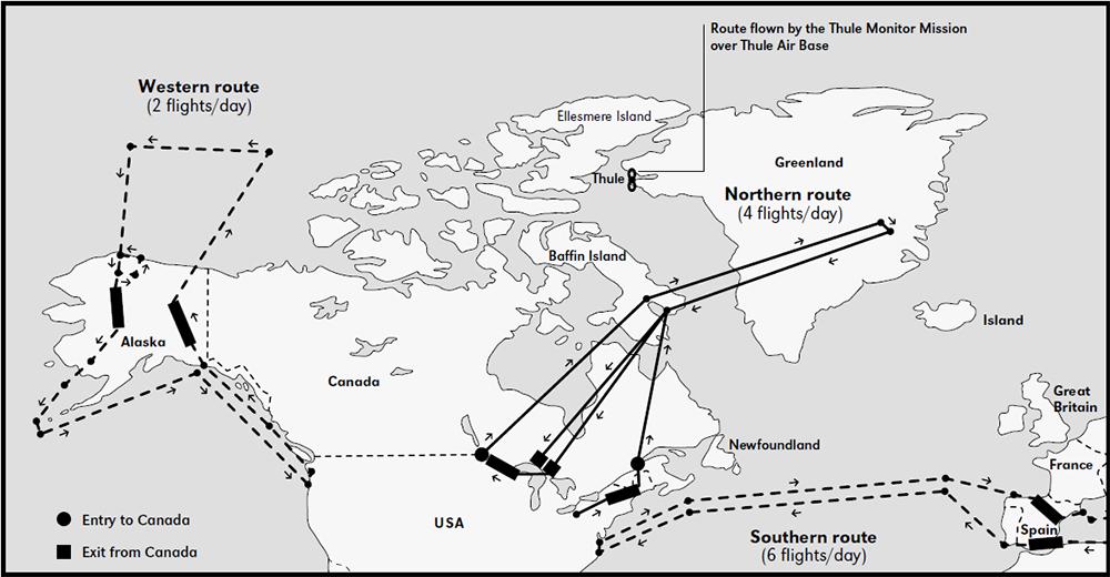 Маршруты полётов по состоянию на 1966 год.