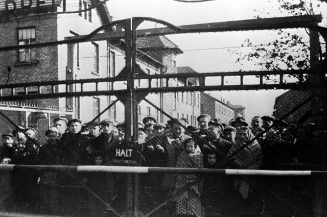 Узники Освенцима перед освобождением лагеря Советской Армией, январь 1945 года