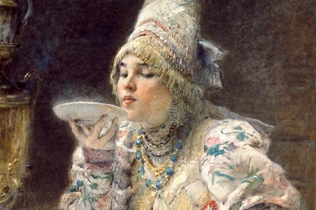 Фрагмент картины Константина Маковского «За чаем».
