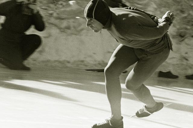 Конькобежец Евгений Гришин. 1963 год