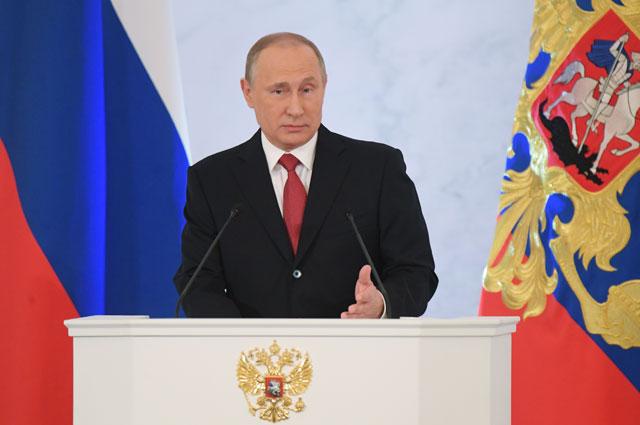 1 декабря 2016. Президент РФ Владимир Путин выступает с ежегодным посланием Федеральному Собранию в Георгиевском зале Кремля.