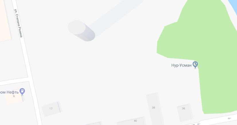 Изображение телебашни на схематической карте Google/