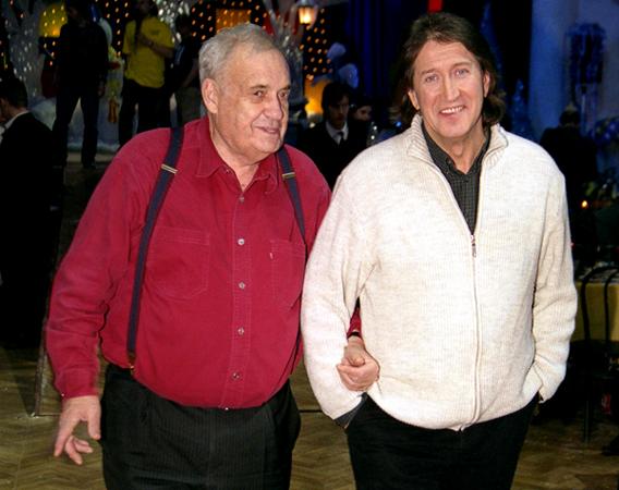 Олег Митяев и Эльдар Рязанов на съемках