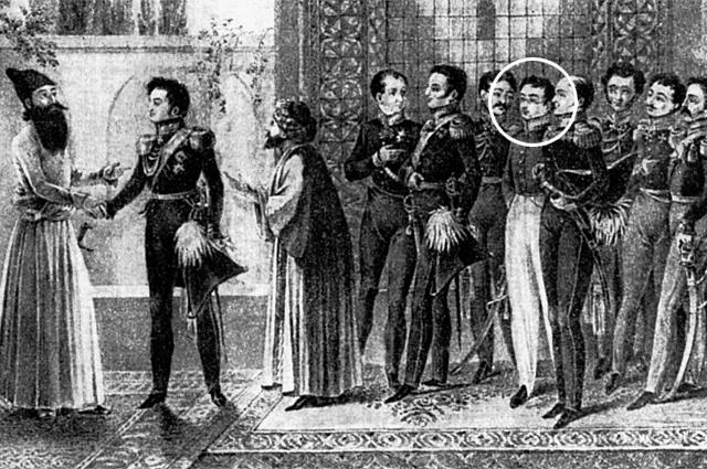 Встреча русских послов с персидским наместником Аббас-Мирзой (1827 год). Пятый справа - Грибоедов