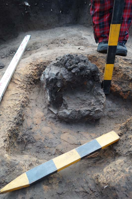 Металлургический горн с железисто-шлаковым конгломератом из раскопа в районе «Ипподром».