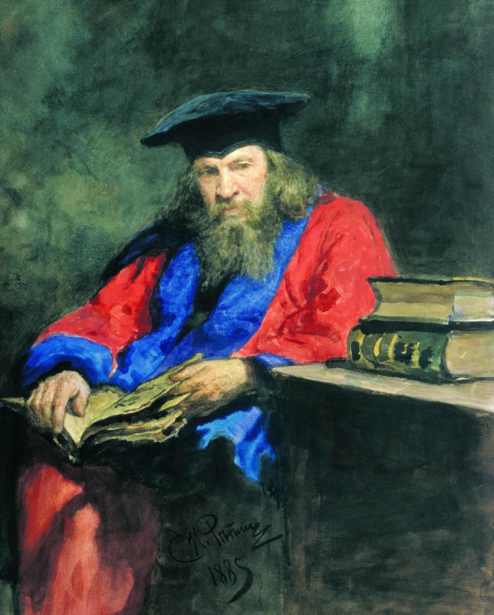 Портрет Д. И. Менделеева в мантии доктора права Эдинбургского университета кисти Ильи Репина, 1885.