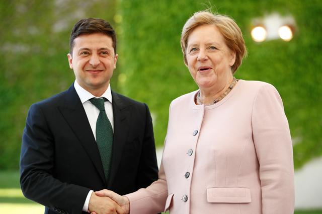Владимир Зеленский и Ангела Меркель.