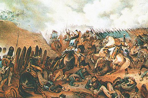 Французская атака на батарею Раевского в момент гибели графа Коленкура. Литография Альбрехта Адама
