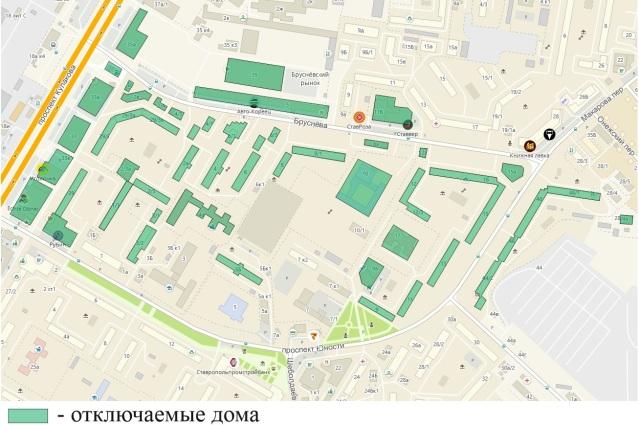 Схема отключения воды 23 сентября 2021 года в Ставрополе.