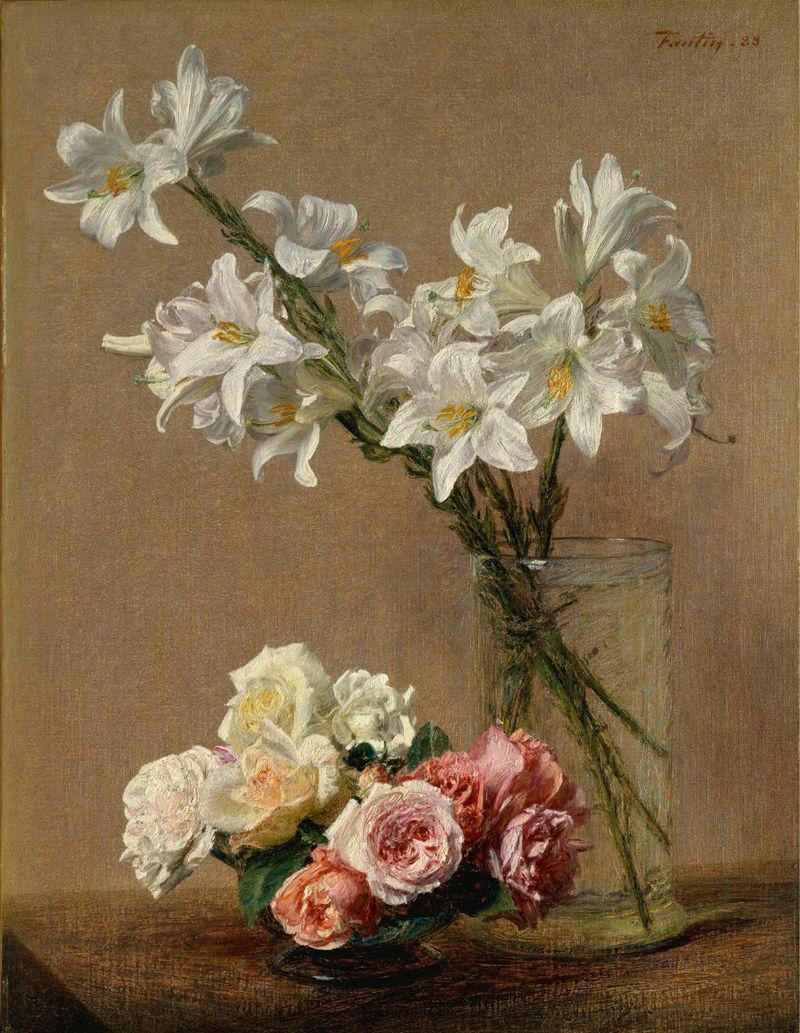 Анри Фантен-Латур. Розы и лилии.
