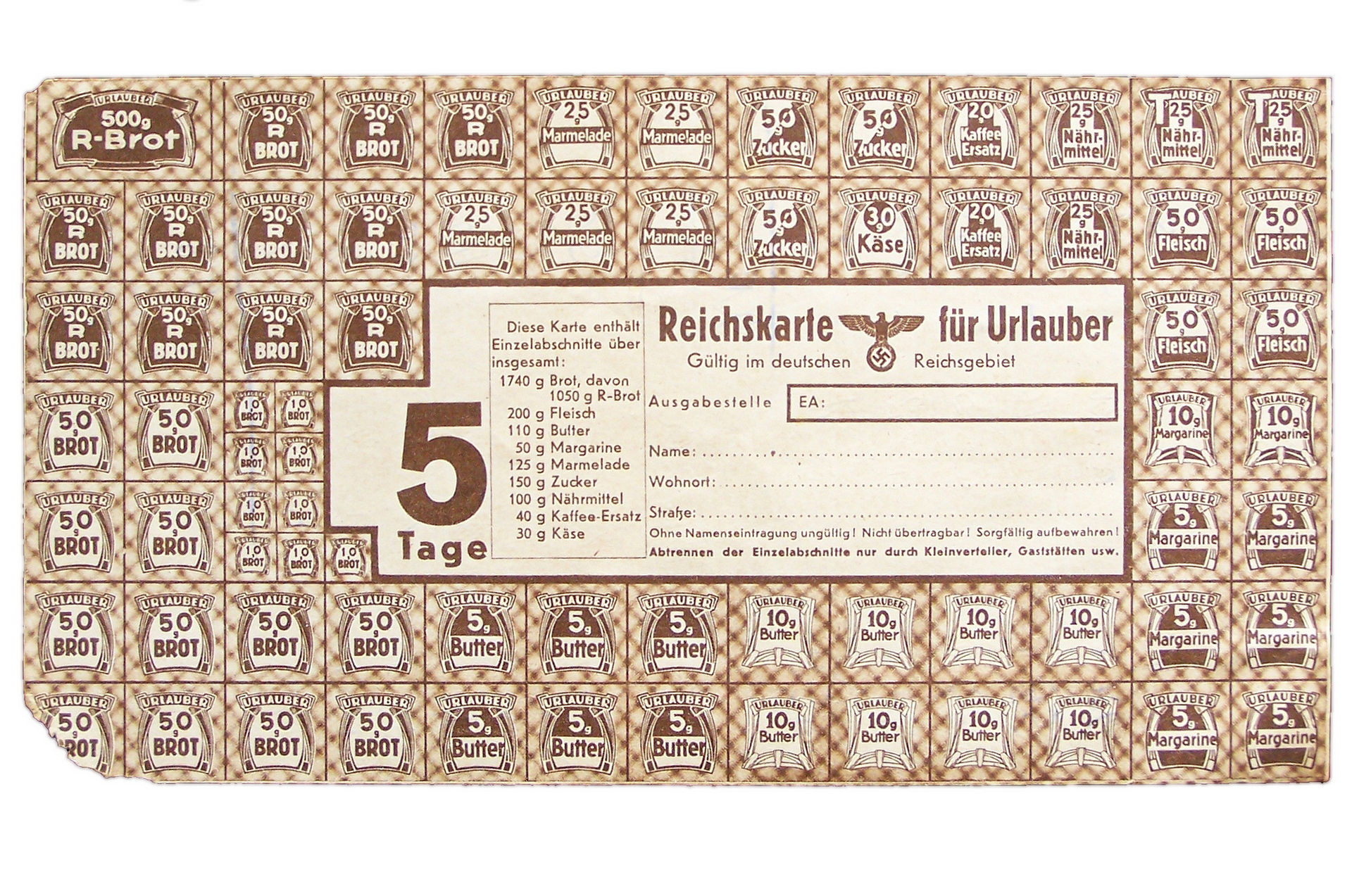 Немецкая продуктовая карточка. 1940-е годы