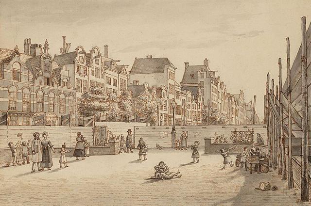 Амстердам в 1845 году. Рисунок Геррита Ламбертса.