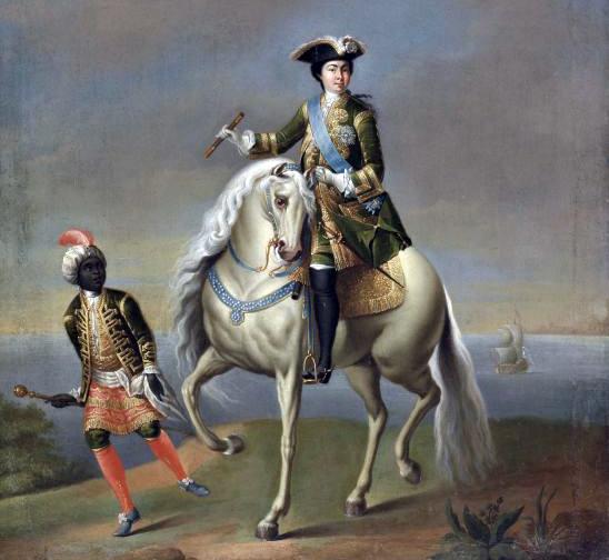 Екатерина I верхом в сопровождении арапчонка. Портрет Георгия Грота.