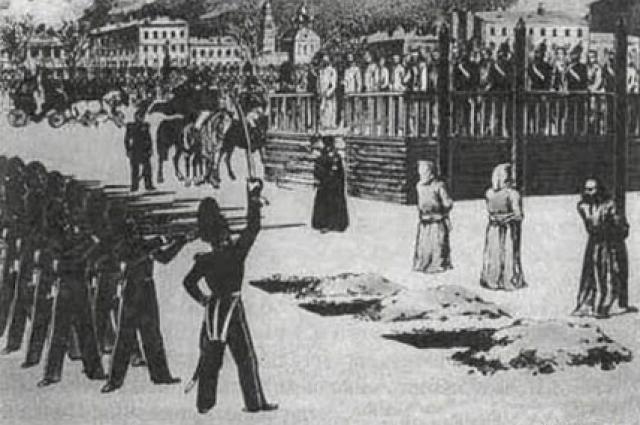 Б. Покровский. «Обряд казни на Семеновском плацу. 1849 г.»
