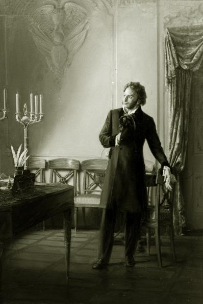 Репродукция картины художника Александра Китаева Пушкин и Бенкендорф . 1961 год