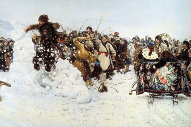 Идея картины «Взятие снежного городка» родилась на родине художника.
