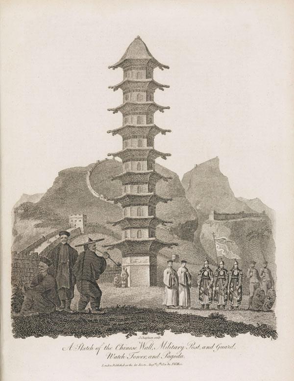 Изображение Великой Китайской стены. Иллюстрация из энциклопедии, опубликованной в Лондоне. 1810-1829гг.