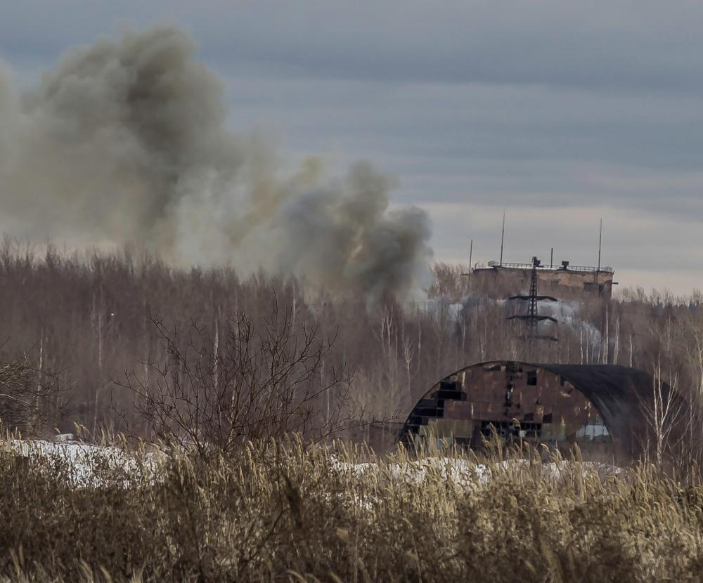 Пожар на территории Красноуральского химзавода.