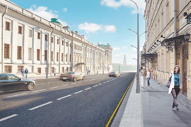Знаменка, помимо прочего, лишится воздушных проводов. Фото предоставлено Департаментом капитального ремонта Москвы.