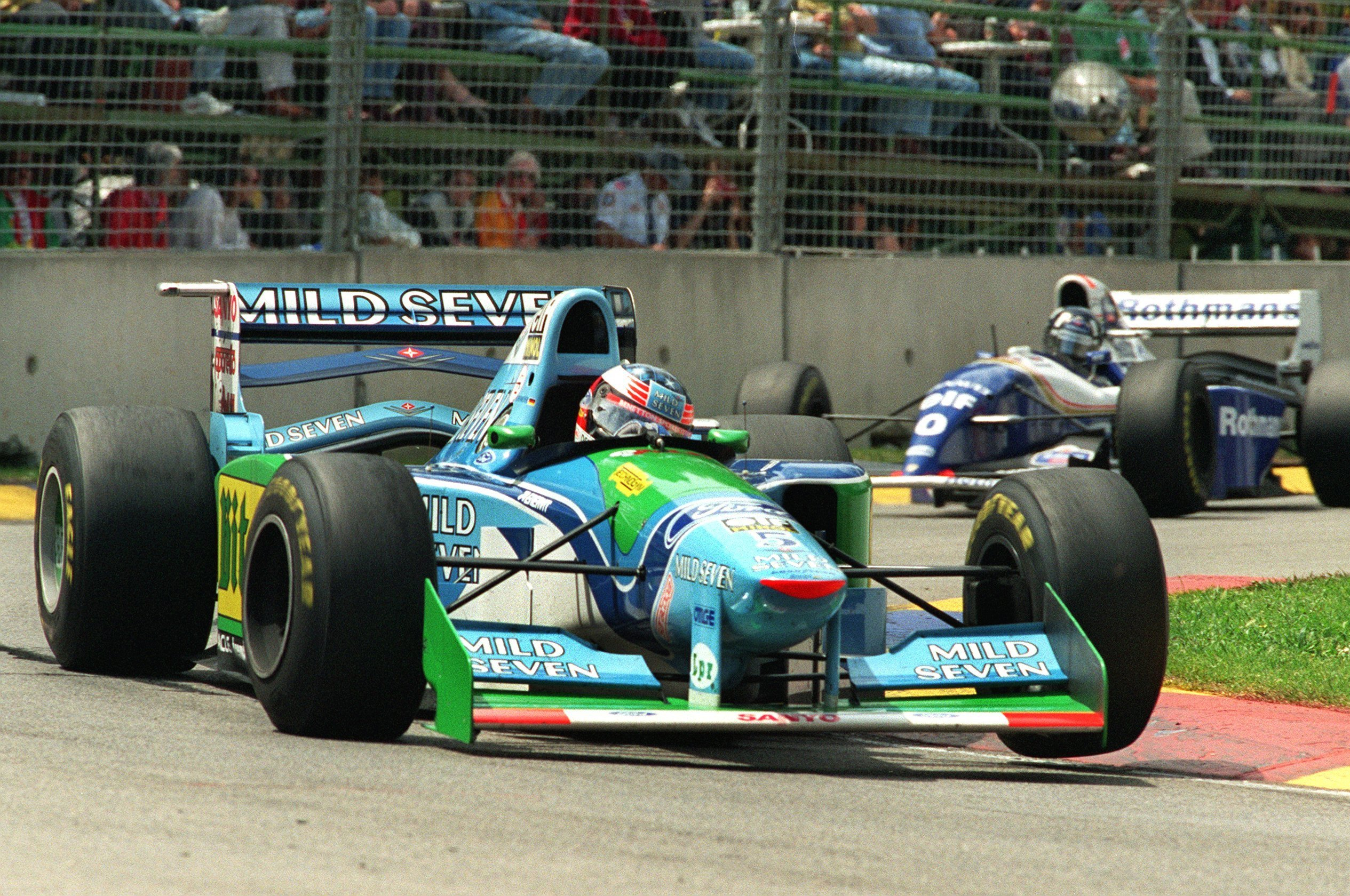 Михаэль Шумахер и Дэймон Хилл в финальном Гран-при 1994 года
