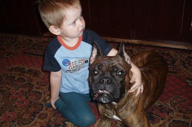 Маленький Игорь с верным другом.