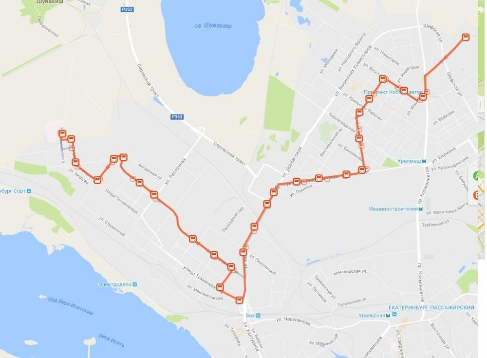 Схема движения транспортных средств по муниципальному маршруту регулярных перевозок №73 «Совхозная – ДМБ №9».