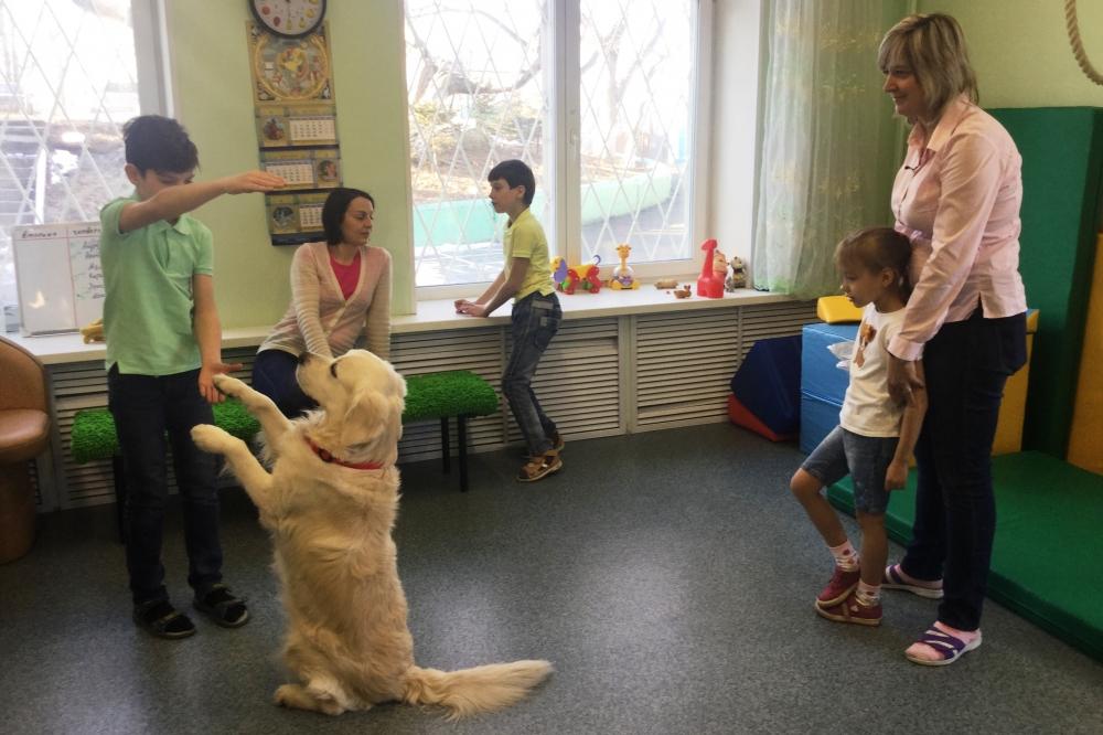 Дети очень любят доброго четвероногого доктора Макса.