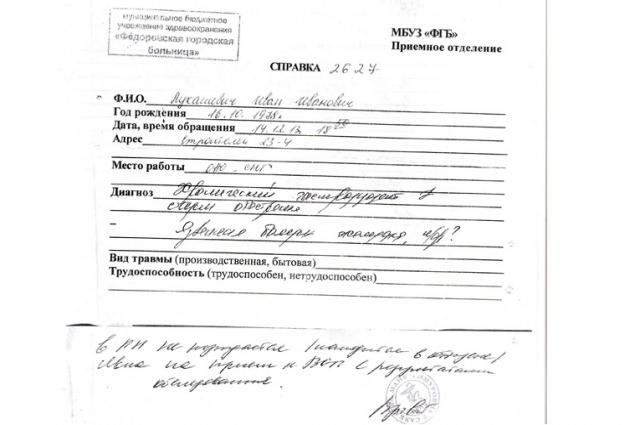 Справка о диагнозов Ивана Лукашевича