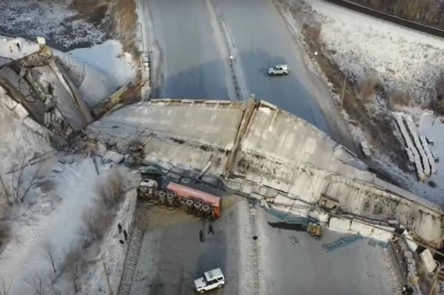 3 декабря, рухнувшие мост с высоты птичьего полета.