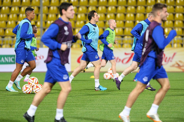 Игроки ФК Эвертон на тренировке перед матчем группового этапа Лиги Европы с ФК Краснодар