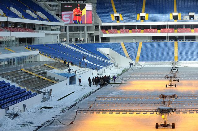 Строящийся футбольный стадион «Ростов Арена» в Ростове-на-Дону.