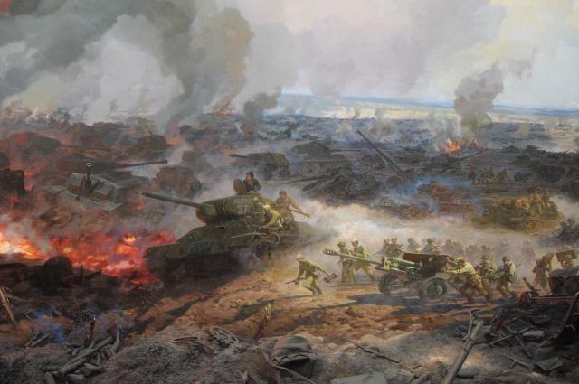 Диорама в музее Белгорода о кульминационном моменте Курской битвы Прохоровском сражении 12 июля 1943 года считается крупнейшей в Европе..