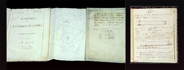 Рисунки М. В. Ломоносова из рукописей: катоптрико-диоптрический зажигательный инструмент и однозеркальный телескоп. 1762