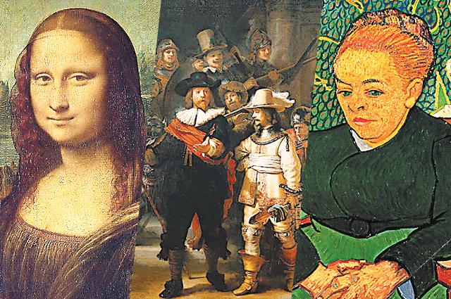 кисти Леонардо да Винчи, «Ночной дозор» Рембрандта, «Колыбельная» Ван Гога.