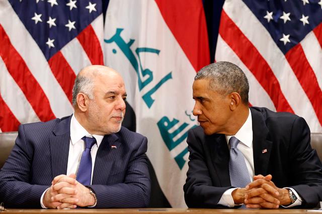 Американский президент Барак Обама с иракским премьер-министром Хайдером аль-Абади во время Генеральной ассамблеи ООН в Нью-Йорке