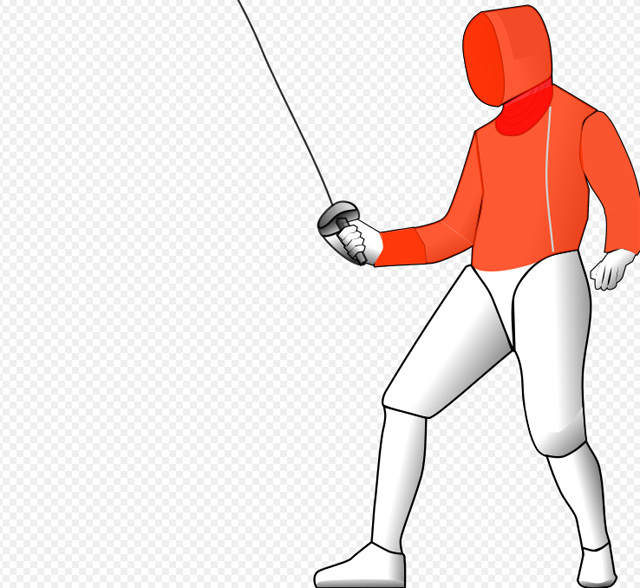 Красным цветом выделены области, уколы и удары в которые засчитываются при фехтовании на саблях
