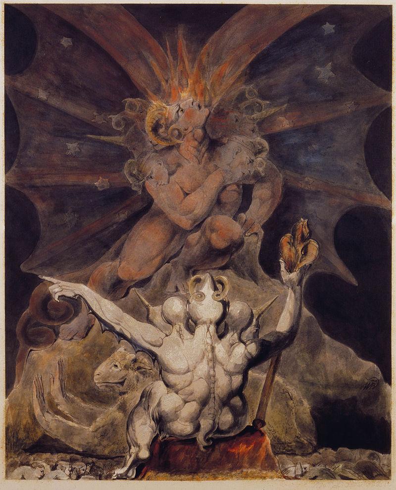 «Число зверя есть 666», картина Вильяма Блейка, 1805.
