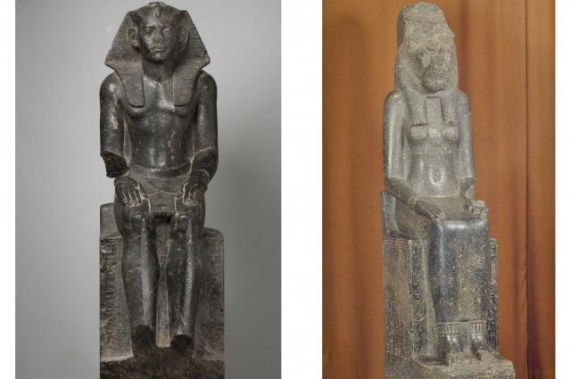 Статуя фараона Аменемхета III (слева) и богини войны и воздаяния Сехмет.